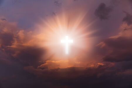 Photo pour Religious background with Holy Cross glowing. Christian cross in a sky with some clouds. Cross Crucifixion Of Jesus Christ. Heaven and Hell - image libre de droit