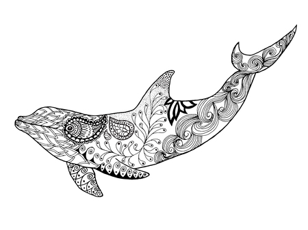 Cute dolphin. Adult antistress coloring page. Black white hand drawn doodle animal. Ethnic patterned vector. African, indian, totem tribal, zentangle design. Sketch for tattoo, poster, print, t-shirt