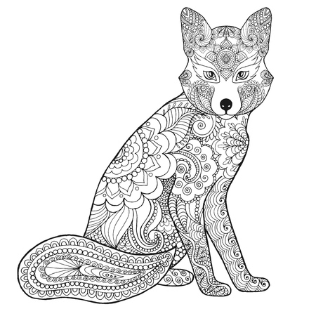 Illustration pour Fox. Black white hand drawn doodle animal. Ethnic patterned vector illustration. African, indian, totem, tribal, zentangle design. Sketch for coloring page, tattoo, poster, print, t-shirt - image libre de droit