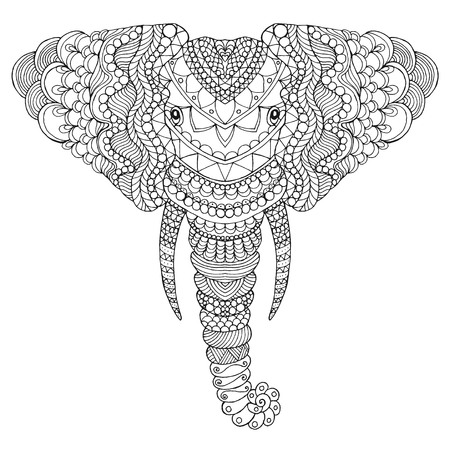 Elephant head. Adult antistress coloring page. Black white ...