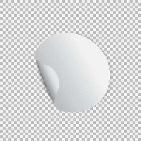 Round sticker with peel off corner on a transparent background