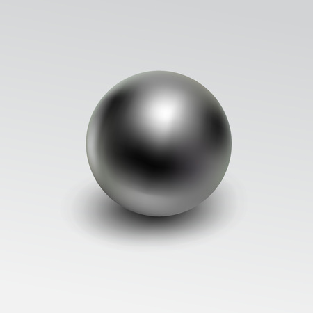 Ilustración de Chrome metal ball realistic isolated on white background. - Imagen libre de derechos