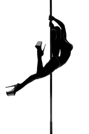 Photo pour pole dance woman silhouette - image libre de droit