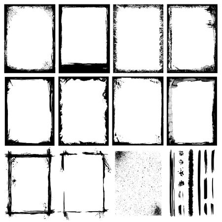Illustration pour Set of Frames, Textures, Lines & Brushes. - image libre de droit