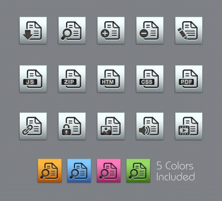 Documents Icons -  Vector file includes 5 color versions for each icon in different layers