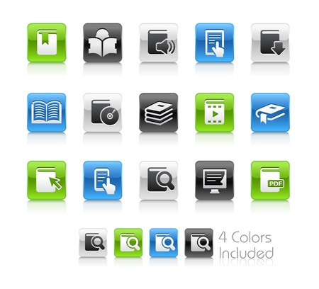 Book Icons -- The file includes 4 color versions for each icon in different layers