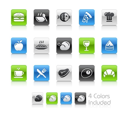 Food Icons - 1 -- The file includes 4 color versions for each icon in different layers