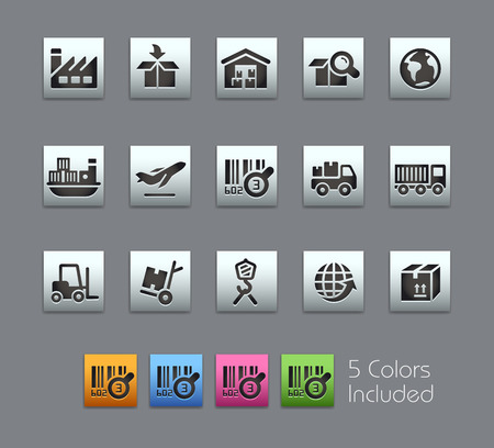 Industry and Logistics Icons -- Satinbox Series -- The Vector file includes 5 color versions for each icon in different layers --
