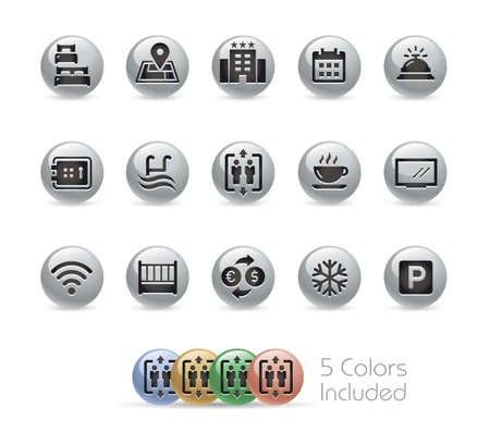 Hotel and Rentals Icons 1 of 2  Metal Round Series - The vector file includes 5 color versions for each icon in different layers.の素材 [FY310155809732]