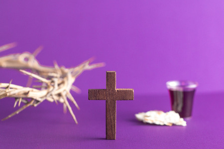 Photo for Symboles of Christianity and the Communion on a Purple Background - Royalty Free Image