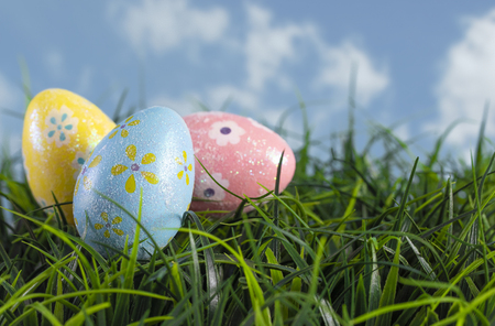 Photo for Decorated Easter Eggs Hiding in the Grass on a Beautiful Spring Day - Royalty Free Image