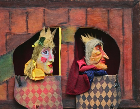 Close-up of Punch and Judy show characters