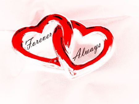 Two Hearts With Words Forever and Always