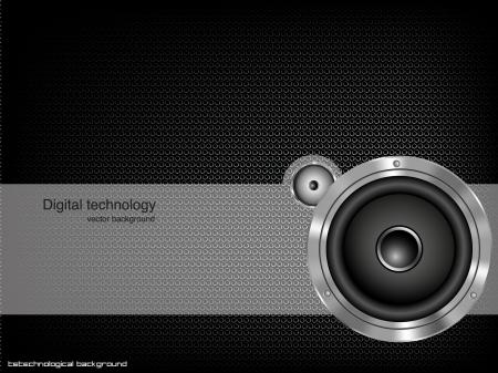Party design element with speaker  Vector illustration