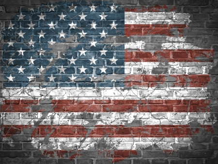 American flag on a brick wall