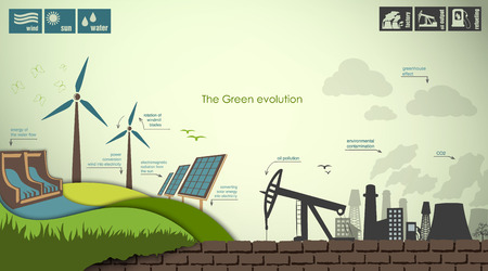 Ilustración de evolution of the concept of greening of the world infographics - Imagen libre de derechos