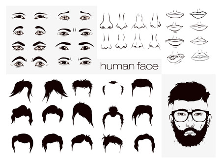vector elements of a person\'s face men