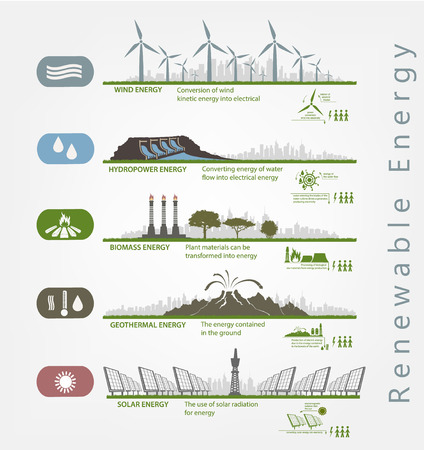 Ilustración de renewable energy in the illustrated examples of infographics with icons - Imagen libre de derechos