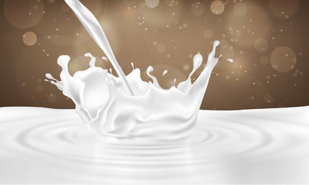 pouring milk drink splashing into milk on a chocolate background
