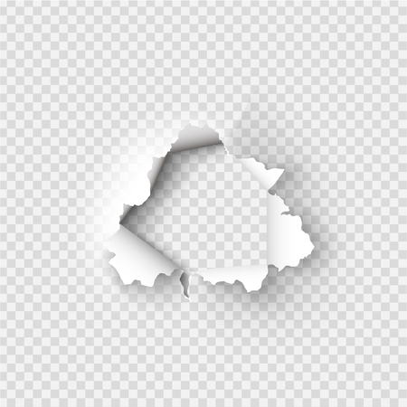 Illustration pour Holes torn in paper on transparent background - image libre de droit