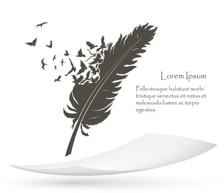 Illustration pour old feather with flying birds and paper - image libre de droit