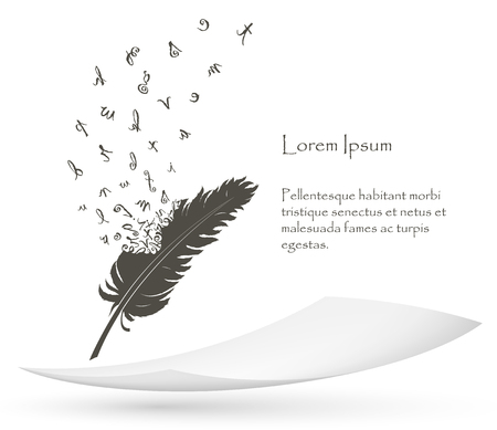 Illustration pour old feather with flying alphabet letters and paper - image libre de droit