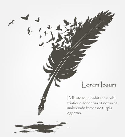 Ilustración de writing old feather with flying birds and ink stains - Imagen libre de derechos
