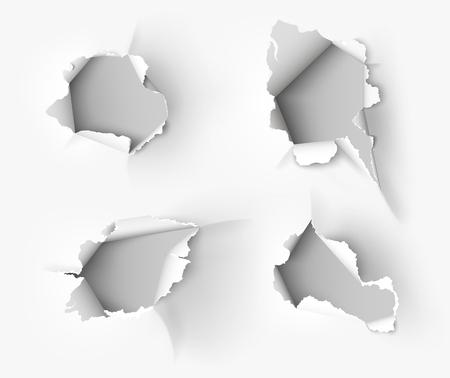Ilustración de Hole torn in ripped paper on white background - Imagen libre de derechos