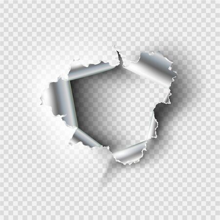 Illustration for ragged Hole torn in ripped metal on transparent background - Royalty Free Image