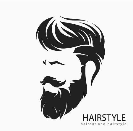 Illustration pour Men hairstyle and hair cut with beard mustache. - image libre de droit