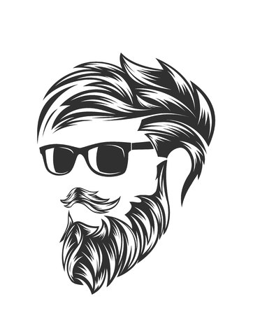 Illustration pour mens hairstyles and hirecut with beard mustache - image libre de droit
