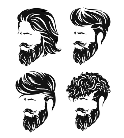 Illustration pour mens set hairstyles and hirecut with beard mustache in face - image libre de droit