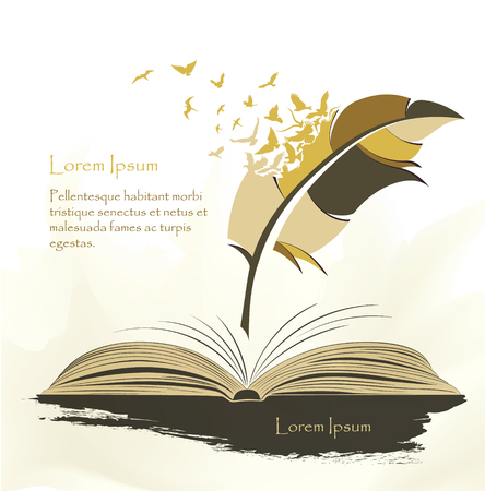 Illustration pour writing pen multicolored feather with flying birds open book - image libre de droit