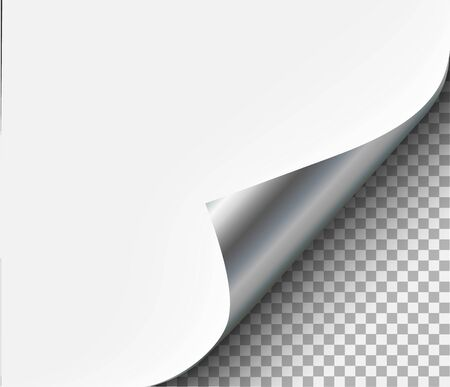 Illustration pour Page curl with shadow on blank sheet steel metal - image libre de droit