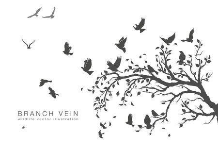 Illustration pour figure flock of flying birds on tree branch - image libre de droit