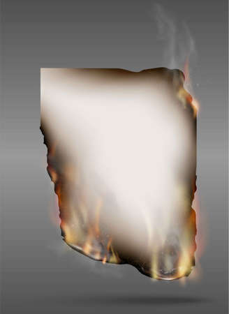 Illustration for transparent design burning templates torn paper with fire - Royalty Free Image