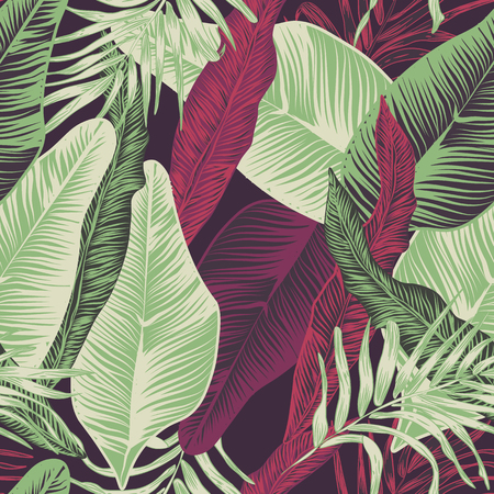 Wild seamless pattern vector with tropical plants in a trend. stylish, vector, plant, exotic illustration