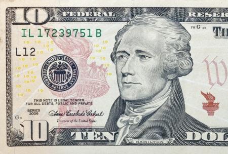 Ten dollar bill fragment macro