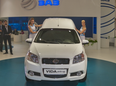 KIEV, UKRAINE - MAY 29: Presenters work at first presentation of new Ukrainian car model ZAZ Vida pick-up on display of SIA' 2013 Kyiv International Motor Show in International Exhibition Centre on May 29, 2013 in Kiev, Ukraine.