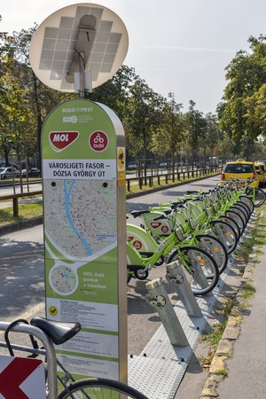 BUDAPEST, HUNGARY - SEPTEMBER 23, 2015: Bicycle Sharing Service Bubi Mol Bike Rental for Public Transport Solution. Service started in 2014, has 1,100 bicycles and 76 sharing stations.