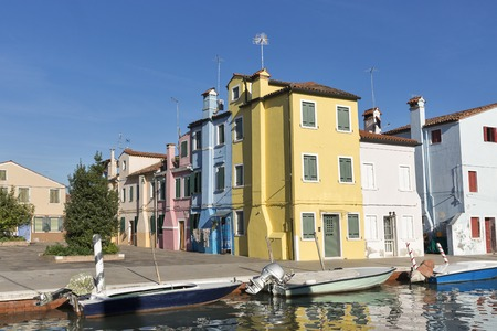 Colourfully painted houses on Burano island, Venice, Italy