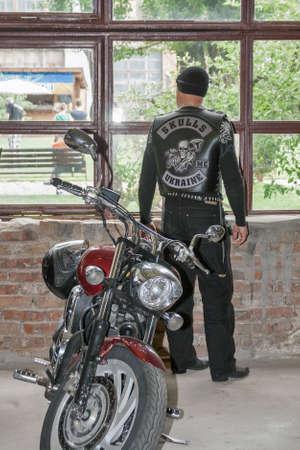 KIEV, UKRAINE - MAY 23, 2015: Bikers club Skulls with their motorcycles in International Tattoo Convention Kyiv Tattoo Collection 2015 organized by Planeta Tattoo studio in Art-factory Platforma.