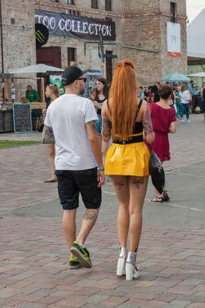 KIEV, UKRAINE - MAY 23, 2015: People visit International Tattoo Convention Kyiv Tattoo Collection 2015 organized by Planeta Tattoo studio in Art-factory Platforma.