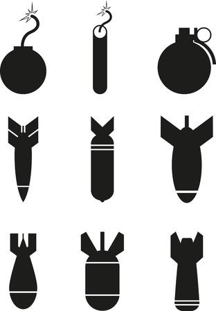 Set of black bomb icons
