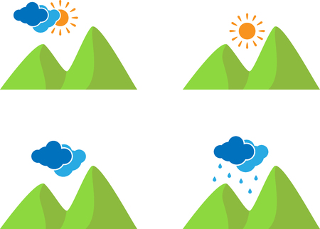 Set of landscape weather icons