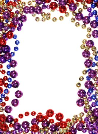 vertical image of border outline frame of  Mardi Gras bead necklaces isolated on white