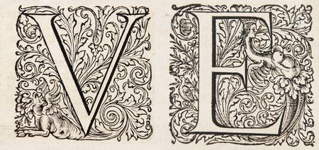 fancy letters V and E from a 17th century bible