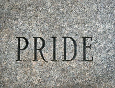 the word pride carved onto a granite cobble stone