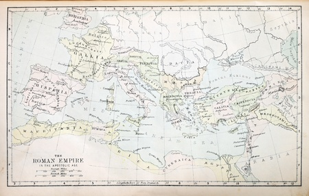 Map of the Roman Empire in the Apostolic age from a nineteenth century Bible
