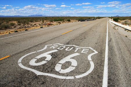 route 66 road leads towards the distant horizon in southern california